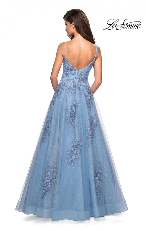 Picture of: Classic Lace A Line Dress with V Neckline and Pockets in Cloud Blue, Style: 27492, Back Picture