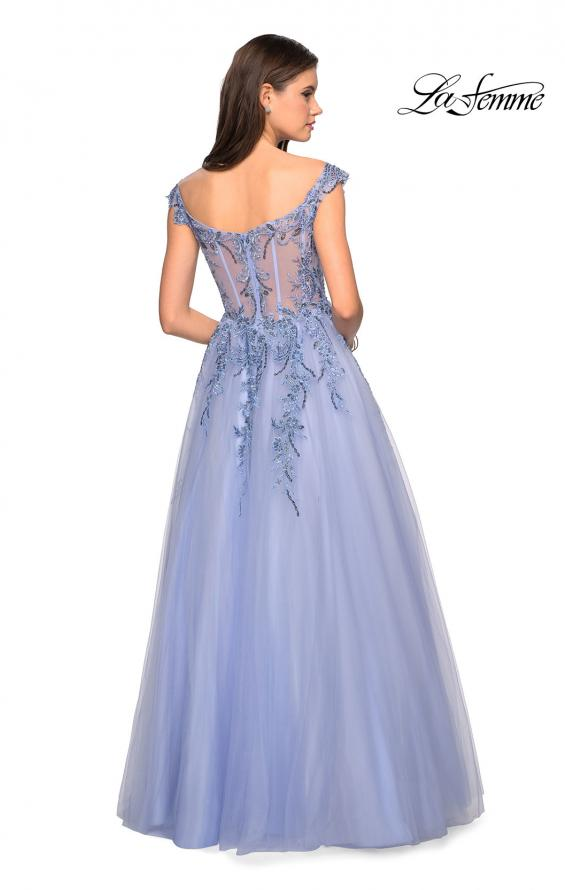 Picture of: Off the Shoulder Tulle Gown with BEaded Embellishments in Cloud Blue, Style: 27595, Back Picture
