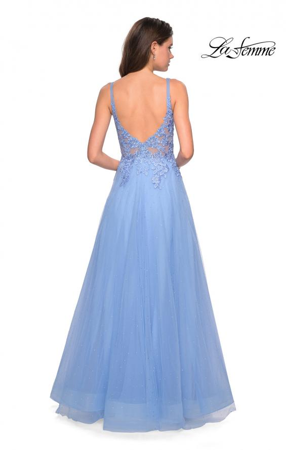 Picture of: Long Tulle Prom Dress with Embellished Bodice and Slit, Style: 27646, Back Picture