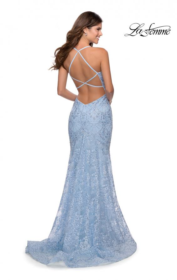 Picture of: Mermaid Prom Dress with Lace and Rhinestones in Cloud Blue, Style: 28643, Back Picture