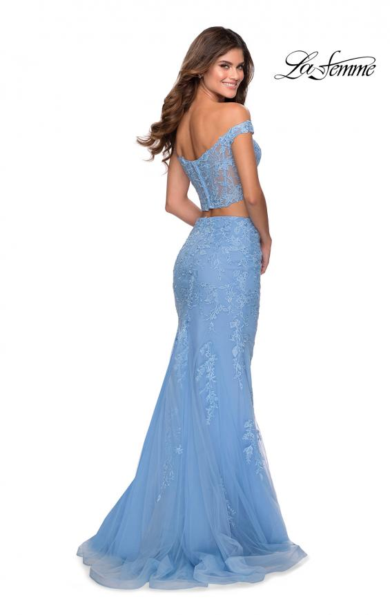 Picture of: Two Piece Off the Shoulder Lace Dress with Tulle Skirt in Cloud Blue, Style: 28682, Back Picture