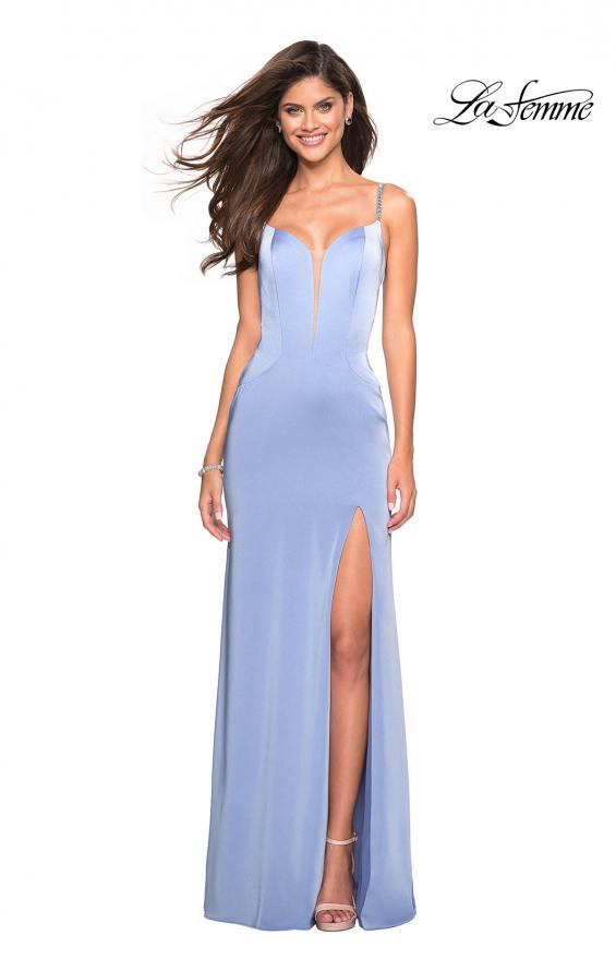 Picture of: Form Fitting Prom Dress with Tape Beaded Straps in Cloud Blue, Style: 27060, Detail Picture 1