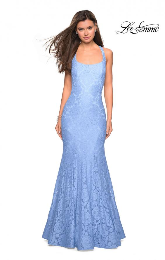 Picture of: Stretch Lace Mermaid Prom Dress with Cut Out Back in Cloud Blue, Style: 27484, Back Picture
