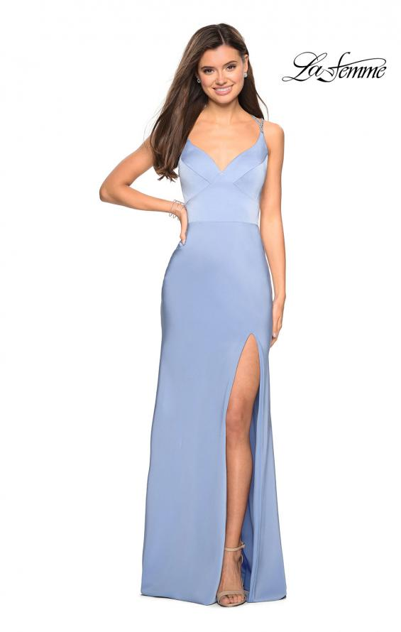 Picture of: Form Fitting Prom Dress with Slit and Beaded Straps in Cloud Blue, Style: 27519, Detail Picture 1