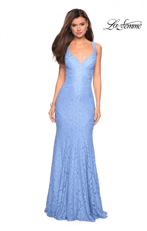 Picture of: Stretch Lace Long Dress with Open Strappy Back in Cloud Blue, Style: 27623, Detail Picture 1