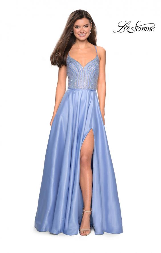 Picture of: Long Mikado Gown with Rhinestone Bodice and Slit in Cloud Blue, Style: 27634, Detail Picture 1