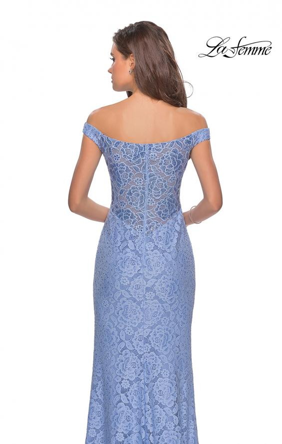 Picture of: Beaded Lace Prom Dress with Off the Shoulder Detail in Cloud Blue, Style: 28301, Detail Picture 1