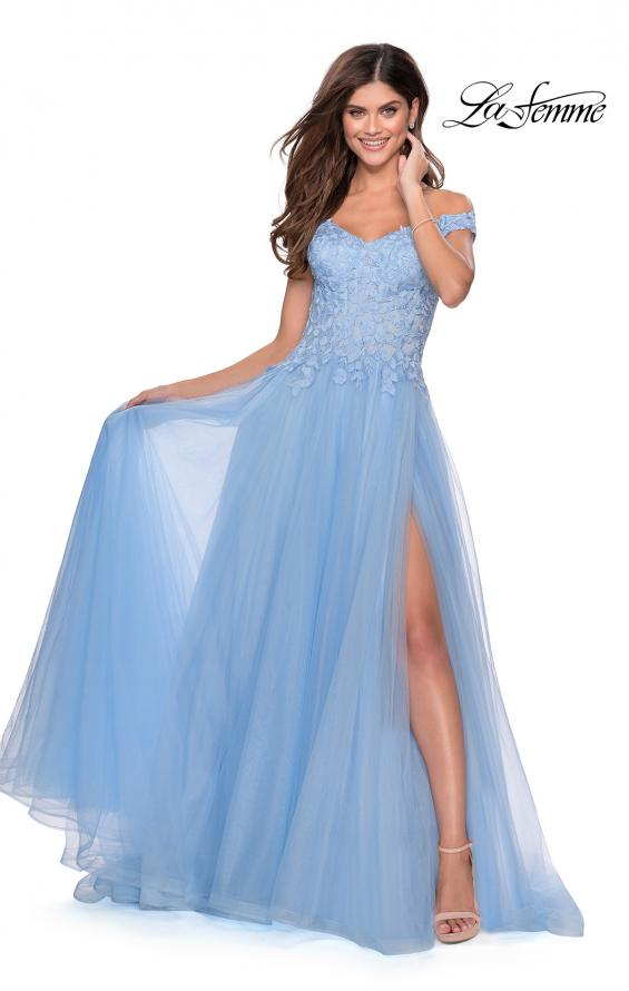 Picture of: Off the Shoulder Tulle Gown with Sheer Floral Bodice in Cloud Blue, Style: 28598, Detail Picture 1