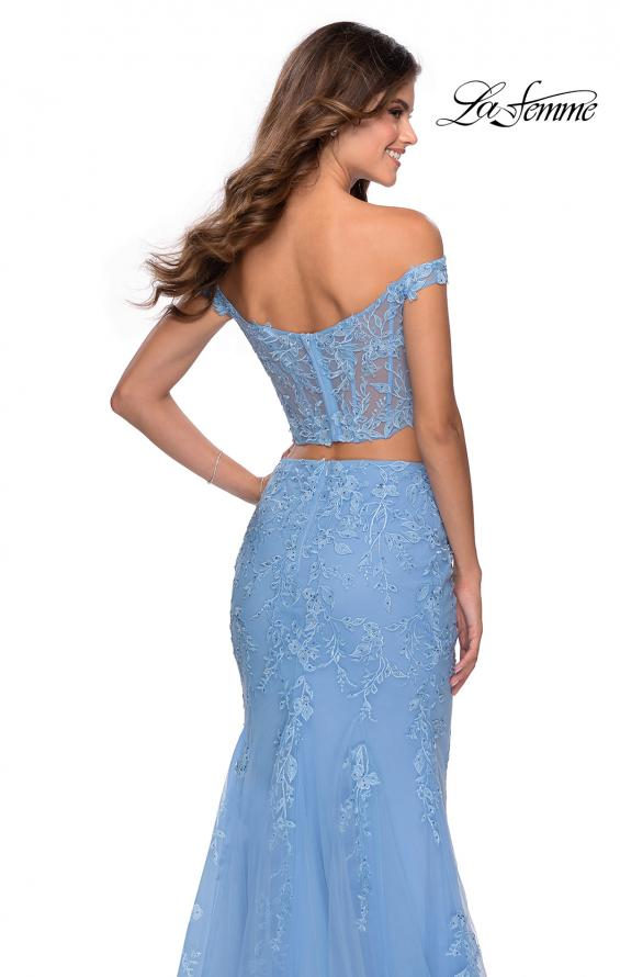 Picture of: Two Piece Off the Shoulder Lace Dress with Tulle Skirt in Cloud Blue, Style: 28682, Detail Picture 1