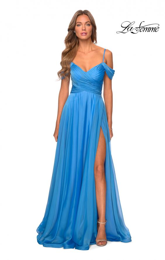 Picture of: Off the Shoulder Chiffon Dress with Scoop Back in Cloud Blue, Style: 28942, Detail Picture 1