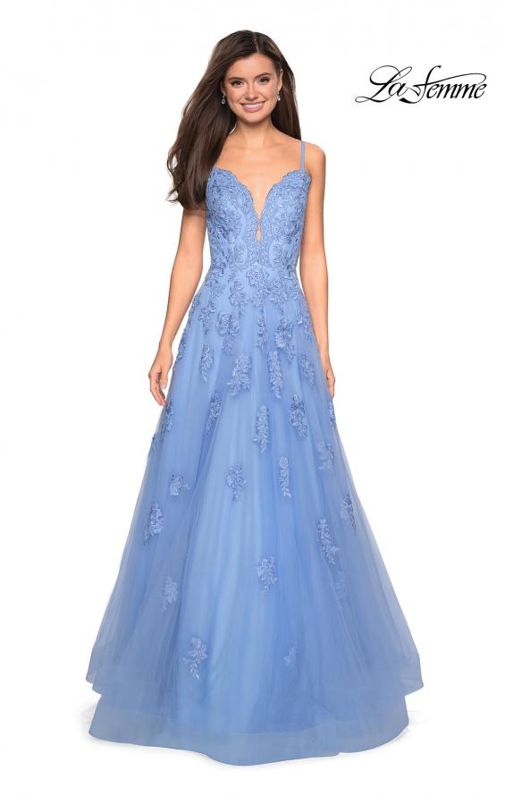 Picture of: Classic Prom Ball Gown with Lace Applique Details, Style: 27463, Detail Picture 2