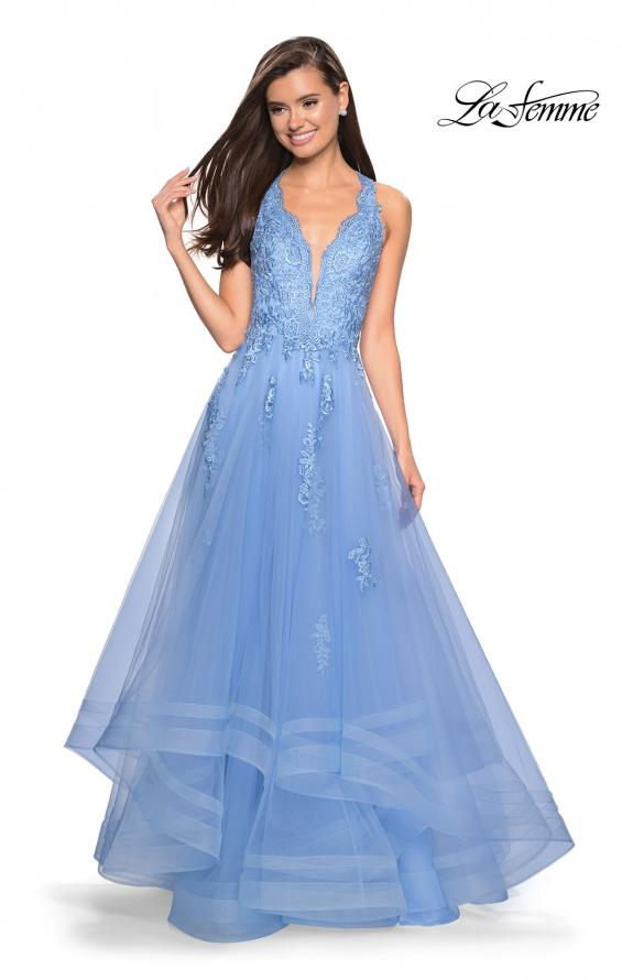 Picture of: Racer Back Lace Embellished Floor Length Ball Gown in Cloud Blue, Style: 27603, Detail Picture 2