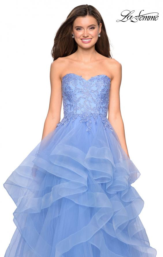 Picture of: Strapless Tulle Prom Gown with Lace Embellishments in Cloud Blue, Style: 27620, Detail Picture 2