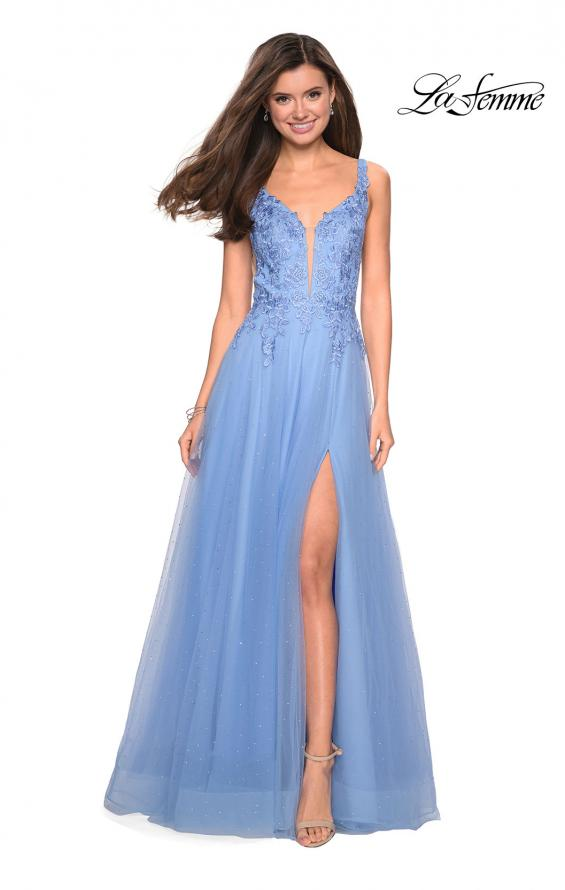 Picture of: Long Tulle Prom Dress with Embellished Bodice and Slit, Style: 27646, Detail Picture 2