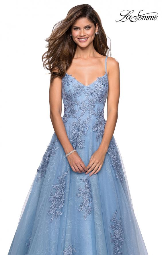 Picture of: Classic Lace A Line Dress with V Neckline and Pockets in Cloud Blue, Style: 27492, Detail Picture 3