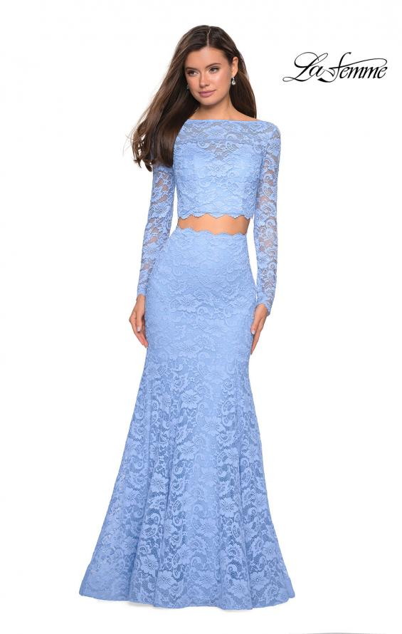 Picture of: Stretch Lace Long Sleeve Two Piece Prom Dress, Style: 27601, Detail Picture 3