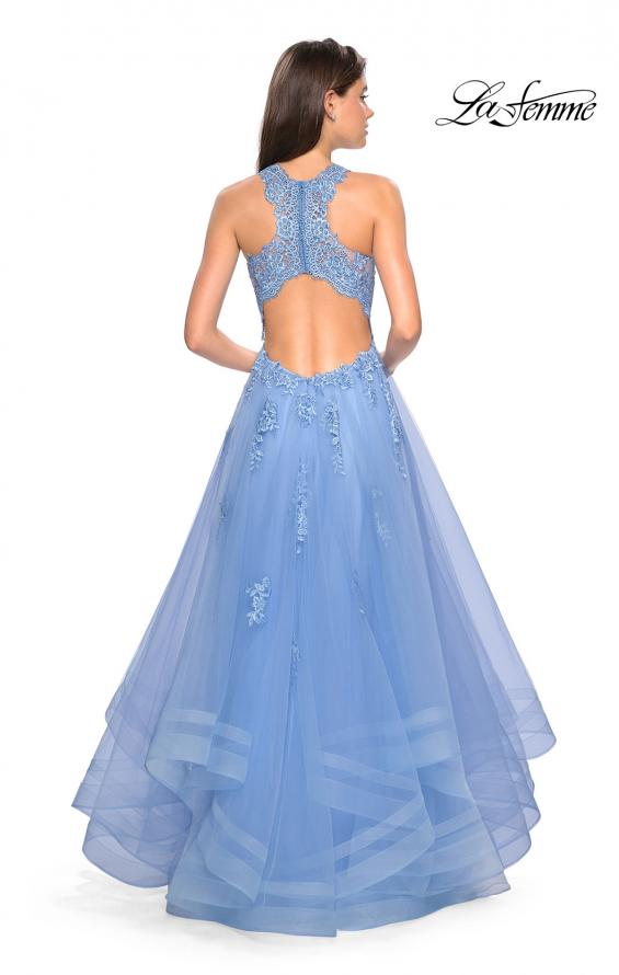Picture of: Racer Back Lace Embellished Floor Length Ball Gown in Cloud Blue, Style: 27603, Detail Picture 3