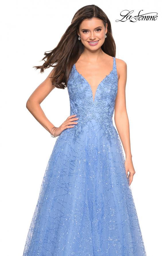 Picture of: A-Line Tulle Ball Gown with Strappy Open Back in Cloud Blue, Style: 27719, Detail Picture 3