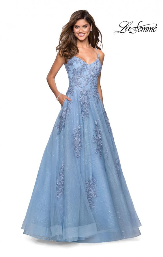 Picture of: Classic Lace A Line Dress with V Neckline and Pockets in Cloud Blue, Style: 27492, Detail Picture 4