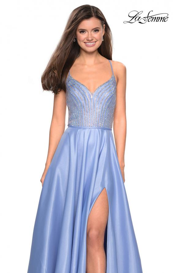 Picture of: Long Mikado Gown with Rhinestone Bodice and Slit in Cloud Blue, Style: 27634, Detail Picture 4
