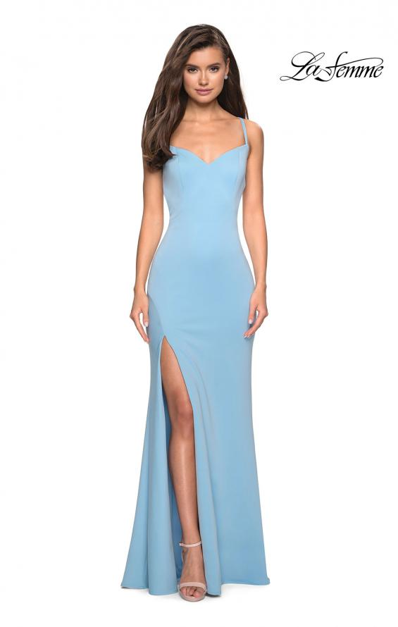 Picture of: Floor Length Jersey Dress with Soft V Neckline, Style: 27657, Detail Picture 4