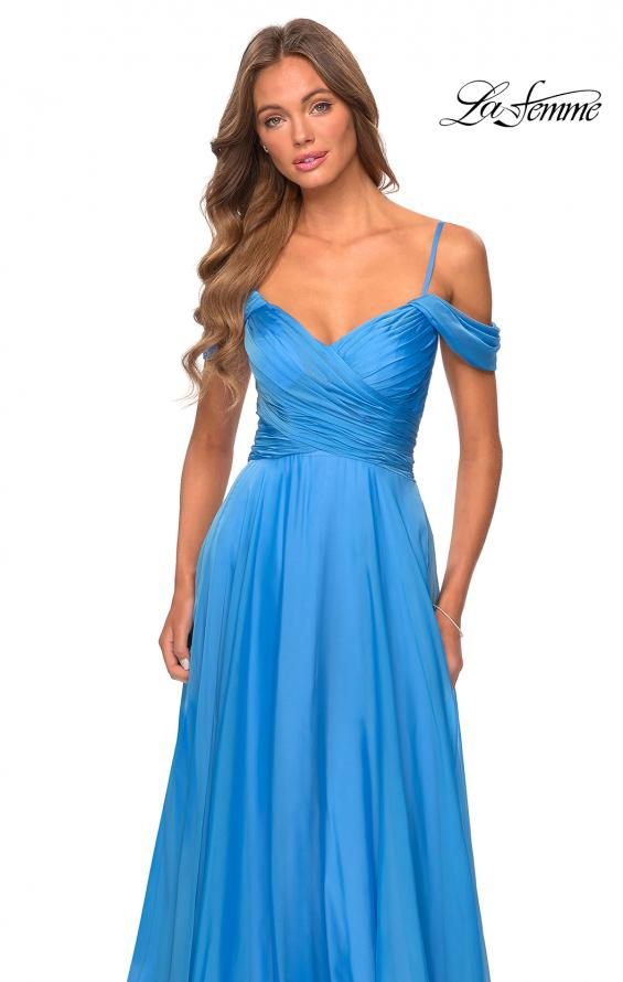 Picture of: Off the Shoulder Chiffon Dress with Scoop Back in Cloud Blue, Style: 28942, Detail Picture 4