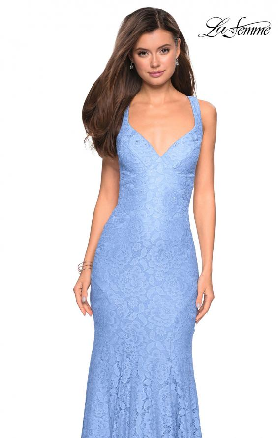 Picture of: Stretch Lace Long Dress with Open Strappy Back in Cloud Blue, Style: 27623, Detail Picture 5