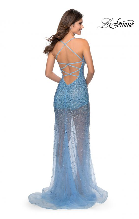 Picture of: Sheer Tulle Rhinestone Dress with Attached Shorts in Cloud Blue, Style: 28806, Detail Picture 5