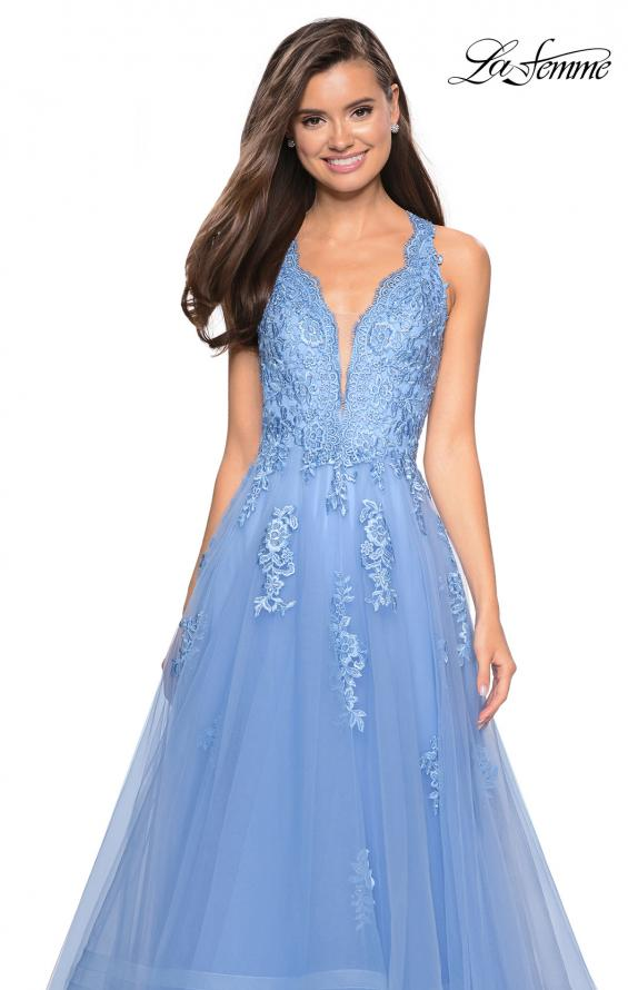 Picture of: Racer Back Lace Embellished Floor Length Ball Gown in Cloud Blue, Style: 27603, Detail Picture 7