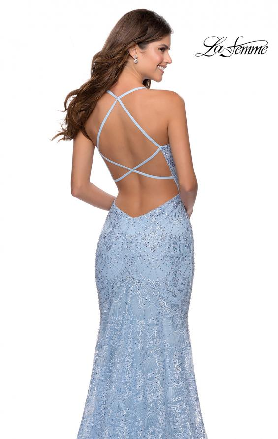 Picture of: Mermaid Prom Dress with Lace and Rhinestones in Cloud Blue, Style: 28643, Detail Picture 7