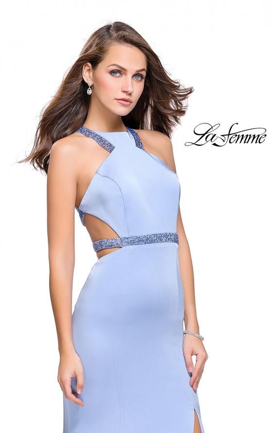 Picture of: Beaded Form Fitting Long Prom Dress with Leg Slit in Cloud Blue, Style: 26129, Main Picture