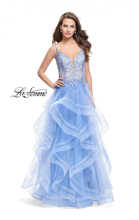Picture of: Ball Gown with Tulle Skirt and Beaded Lace Bodice in Cloud Blue, Style: 26148, Main Picture