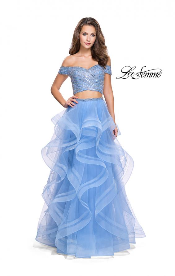 Picture of: Off the Shoulder A-line Gown with Ruffle Tulle Skirt in Cloud Blue, Style: 26169, Main Picture
