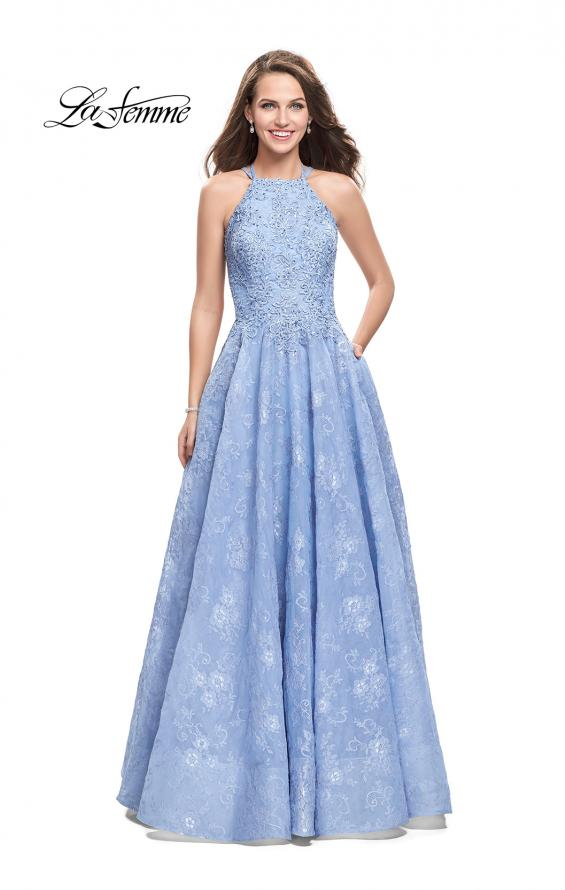 Picture of: High Neck A-line Gown with Beaded Bodice and Pockets in Cloud Blue, Style: 26337, Main Picture