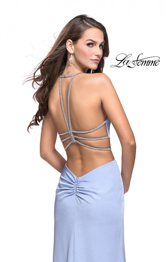 Picture of: Long Jersey Prom Dress with Plunging Neckline and Beading in Cloud Blue, Style: 25398, Back Picture
