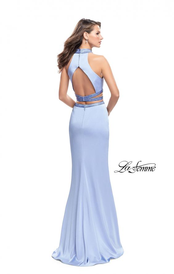Picture of: Two Piece Prom Gown with Beaded Choker and Leg Slit, Style: 25746, Back Picture