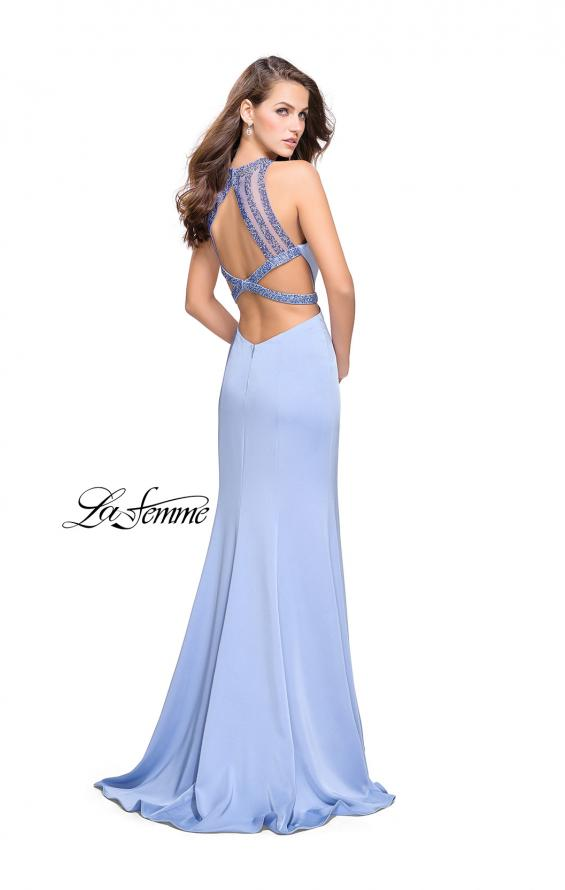 Picture of: Beaded Form Fitting Long Prom Dress with Leg Slit in Cloud Blue, Style: 26129, Back Picture