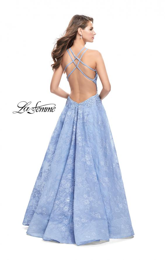 Picture of: High Neck A-line Gown with Beaded Bodice and Pockets in Cloud Blue, Style: 26337, Back Picture