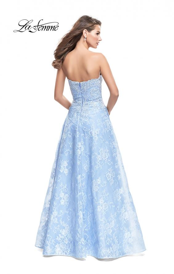Picture of: Long Strapless Lace Ball Gown with Beading and Pockets, Style: 26338, Back Picture