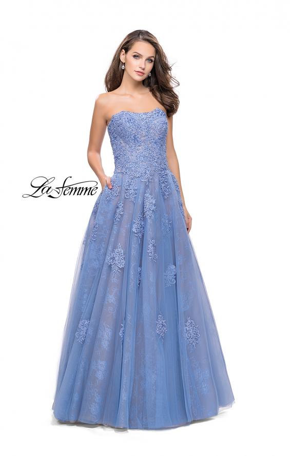 Picture of: Strapless A-line Prom Dress with Tulle in Cloud Blue, Style: 25925, Detail Picture 1