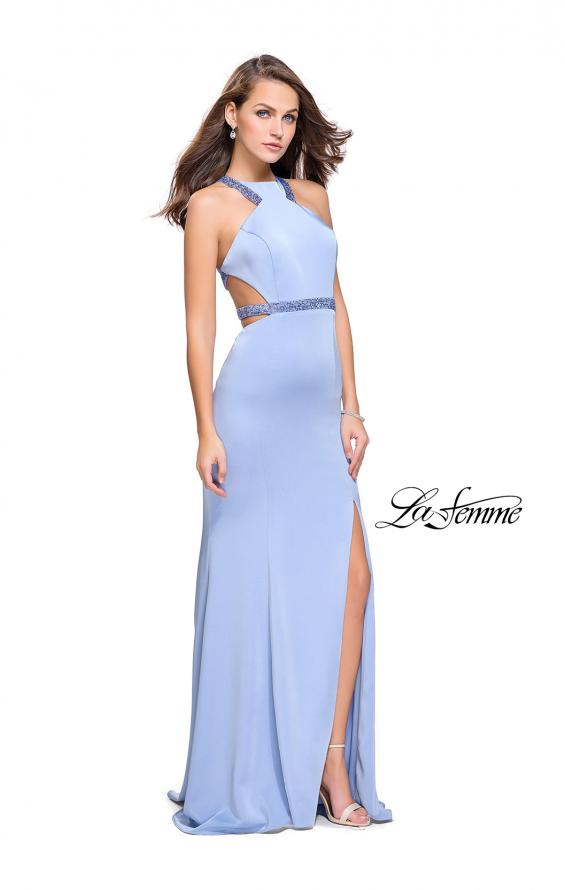 Picture of: Beaded Form Fitting Long Prom Dress with Leg Slit in Cloud Blue, Style: 26129, Detail Picture 1