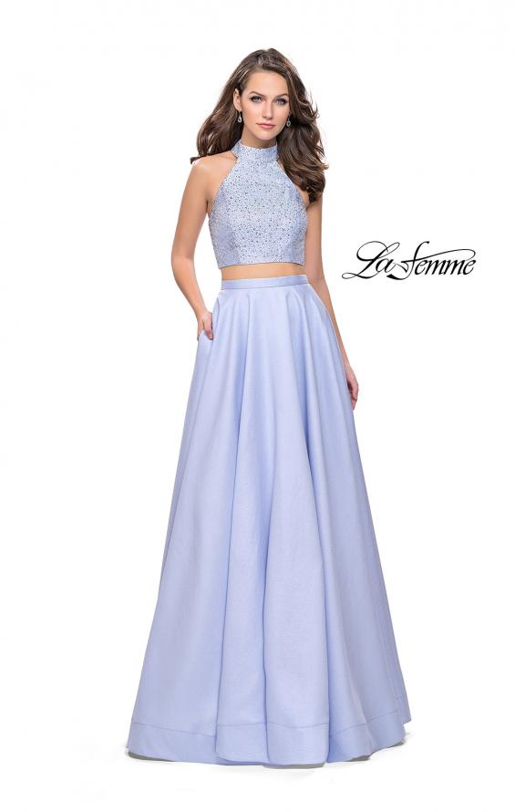 Picture of: Mikado Two Piece A-line Dress with Metallic Beading in Cloud Blue, Style: 25705, Detail Picture 2