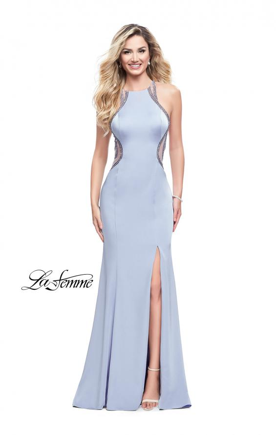 Picture of: Sheer Beaded Prom Dress with High Neck and Cut Outs, Style: 26060, Detail Picture 3