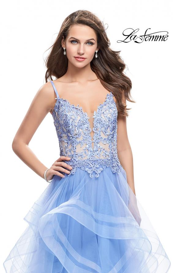 Picture of: Ball Gown with Tulle Skirt and Beaded Lace Bodice in Cloud Blue, Style: 26148, Detail Picture 3