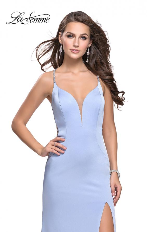 Picture of: Long Jersey Prom Dress with Plunging Neckline and Beading, Style: 25398, Detail Picture 4