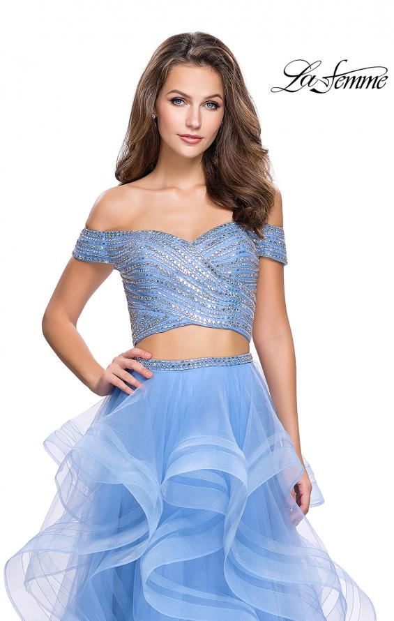 Picture of: Off the Shoulder A-line Gown with Ruffle Tulle Skirt in Cloud Blue, Style: 26169, Detail Picture 2
