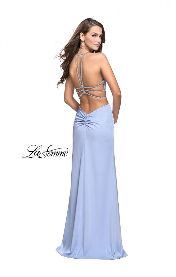 Picture of: Long Jersey Prom Dress with Plunging Neckline and Beading in Cloud Blue, Style: 25398, Detail Picture 5