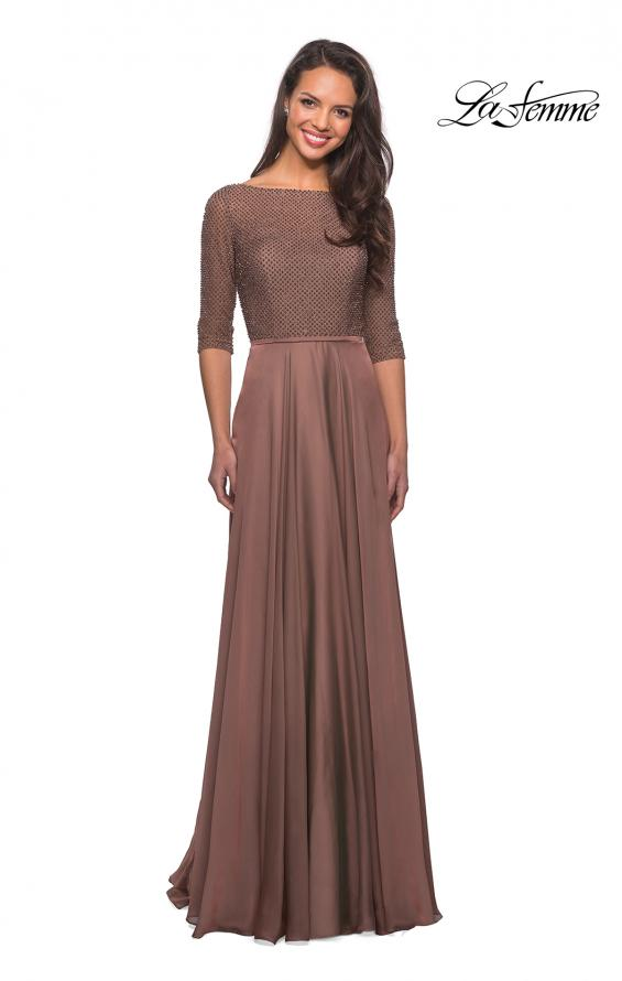 Picture of: Modern gown with beaded bodice and empire waist in Cocoa, Style: 25011, Main Picture