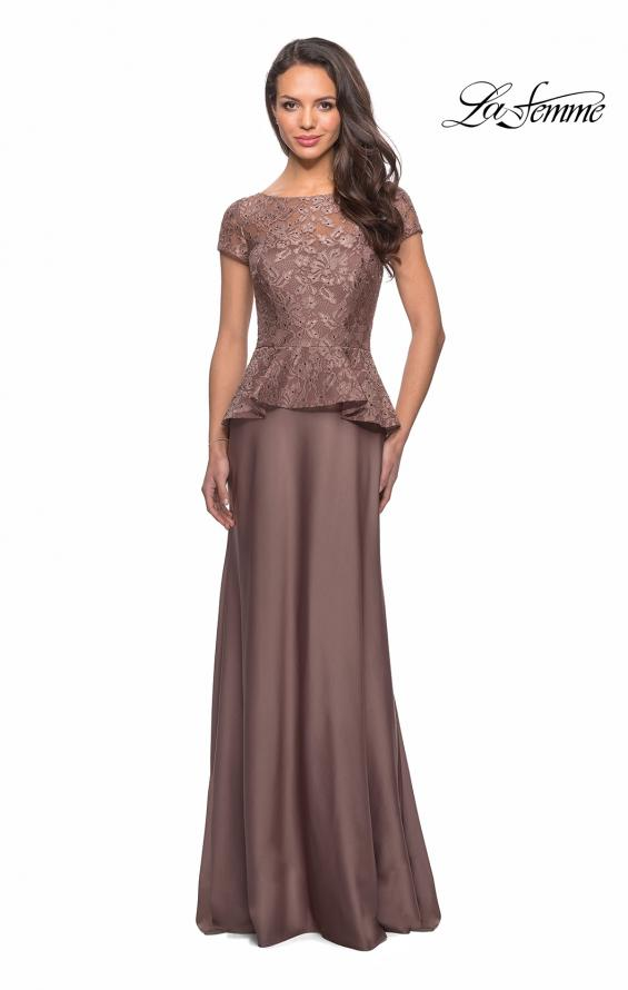 Picture of: Long Satin Dress with Lace Peplum Style Bodice in Cocoa, Style: 25887, Main Picture