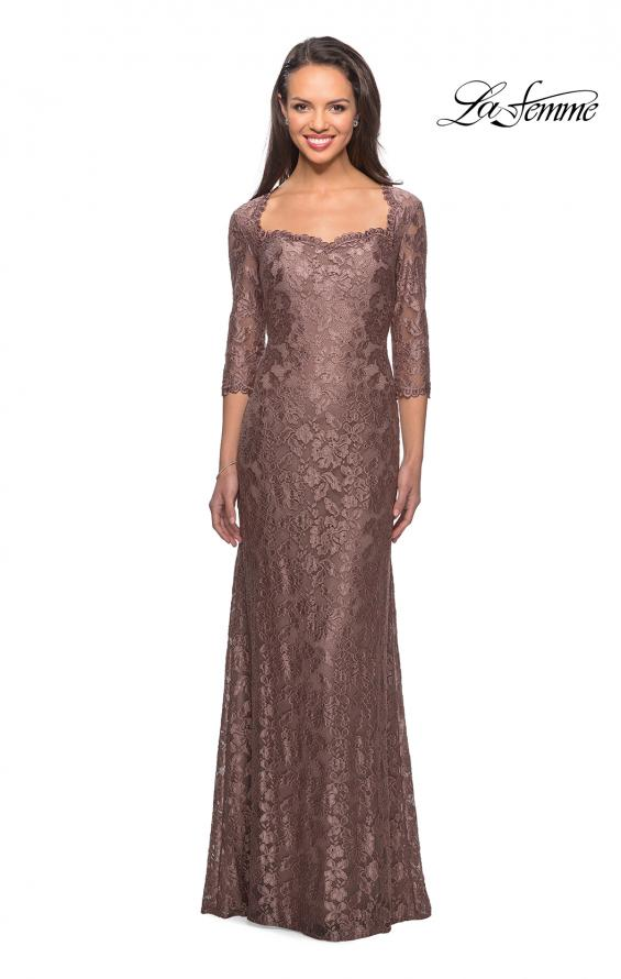 Picture of: Long Lace Gown with Sweetheart Neckline in Cocoa, Style: 26427, Main Picture